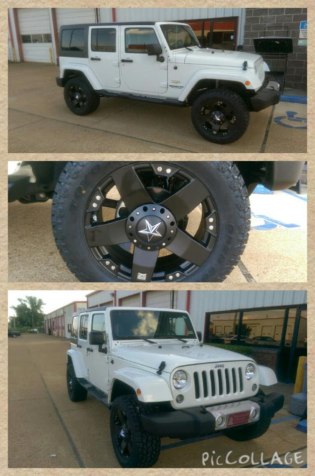 White Jeep Lift And rock star Wheels